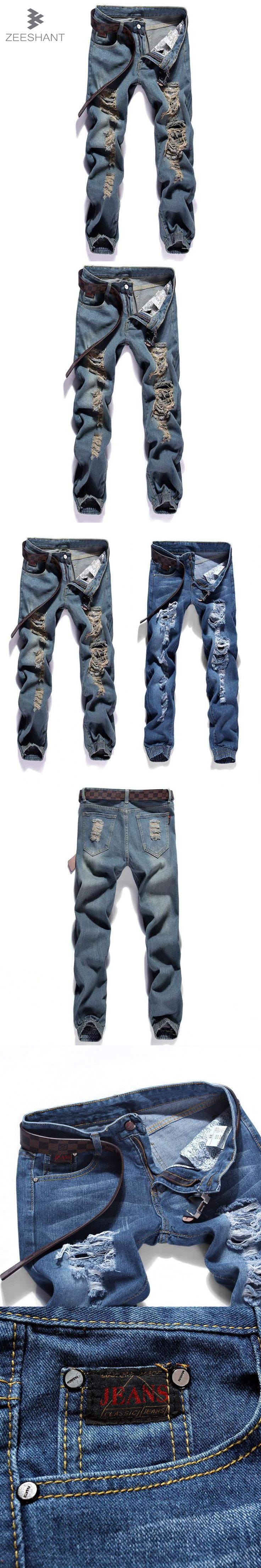 ZEESHAT Homme Jeans Designer Pants Destroyed Mens Slim Denim Straight Skinny Jeans Men Ripped hole Jeans Skinny in Men's Jeans