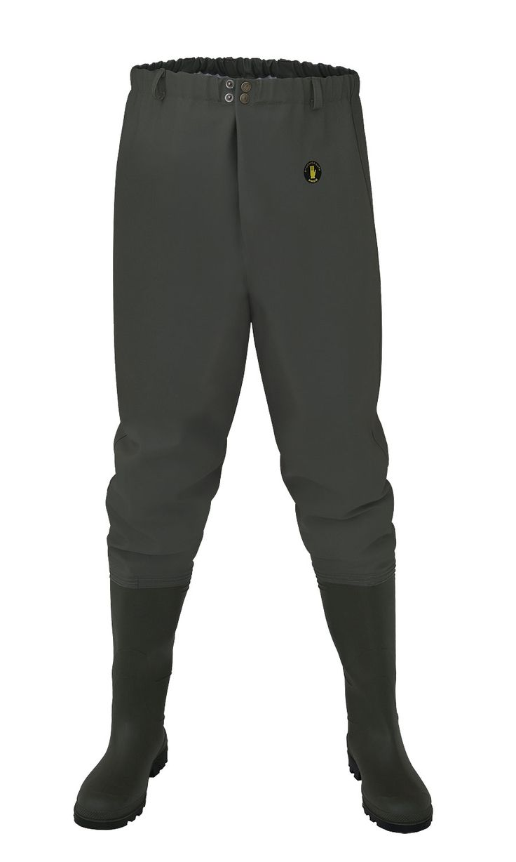 "WATERPROOF FISHING TROUSERS ""STANDARD"" Model: SP03 The waist waders have been produced with high quality PVC boots welded in. The product has been been made on waterproof strong fabric Plavitex Heavy Duty. The model has been designed to be used especially by professionnal fishermen and for leisure fishing activities. It's a good protection against water. High frequency welding makes seams stronger."