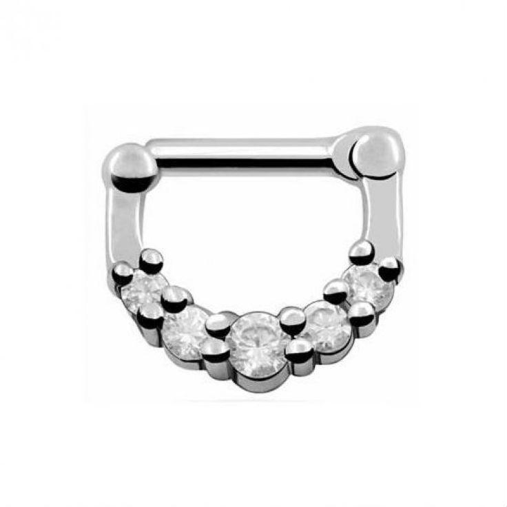 Aro tipo clicker plateado para septum diseño 5 cristales, pequeño. Fácil colocación, solo un click! Piercings de nariz. Barra de 8mm de largo y 1mm de grosor.