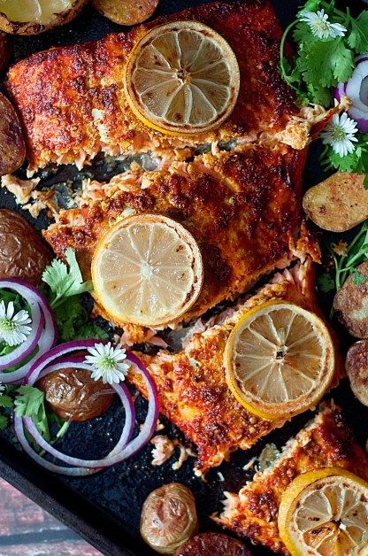 Healthy, roasted tandoori salmon with Indian-spiced potatoes