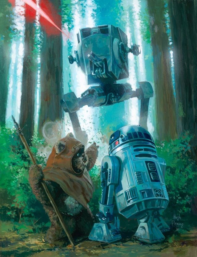 [ Star Wars: Wicket and R2-D2 from Return of the Jedi Artwork ]