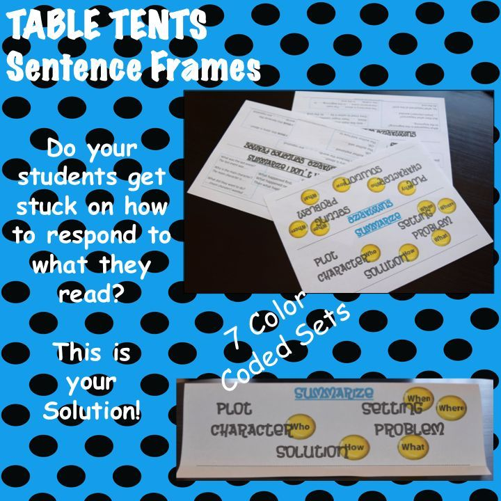 TEACHERS: WRITING PROMPTS. Do your students get stumped on how to response to what they read? Sentence Frames Table Tents. READING, WRITING STRATEGIES.  CENTER ACTIVITIES. ELEMENTARY TEACHERS. GRADES KINDER -5TH