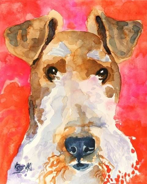 Wire Fox Terrier Art Print of Original Watercolor Painting 11x14    About the Print:    This Wire Fox Terrier open edition art print is from an