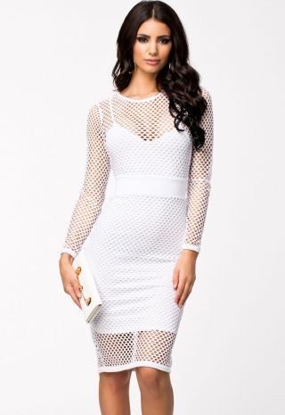 White Netted Cut Out Dress R399.00