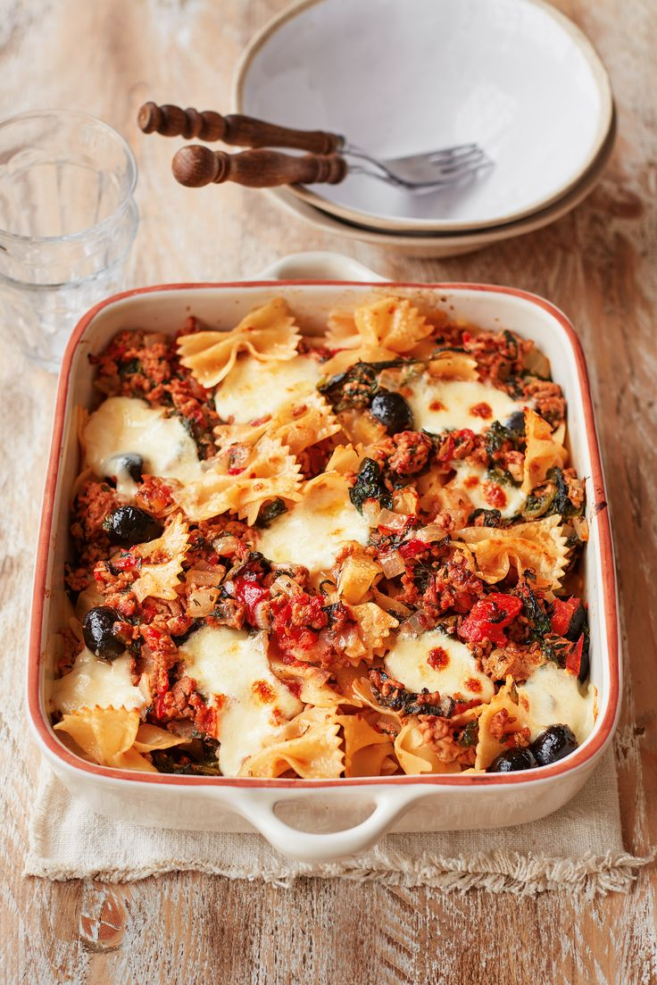 This speedy, warming supper takes just 30 minutes to make and is brimming with gorgeous Greek flavours. Lamb mince and black olives are combined with farfalle pasta, tomatoes and mozzarella, and baked until bubbling. | Tesco