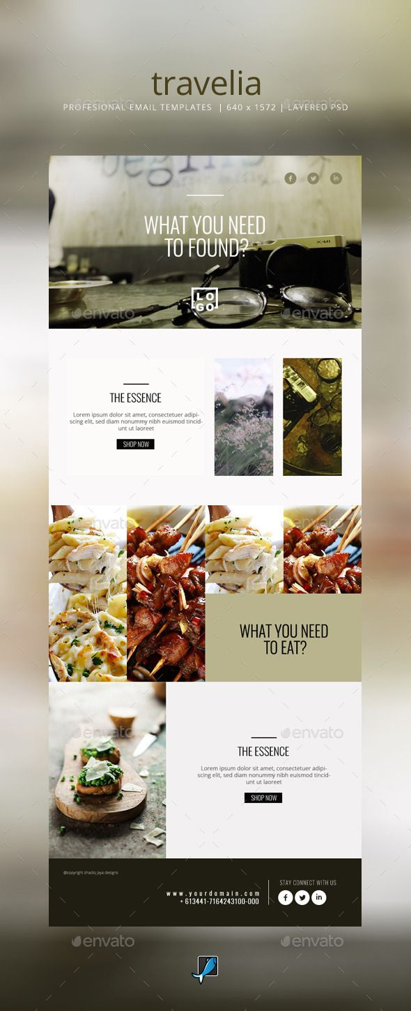 Simple Email Templates PSD. Download here: http://graphicriver.net/item/simple-email-templates-travelia/11259269?ref=ksioks