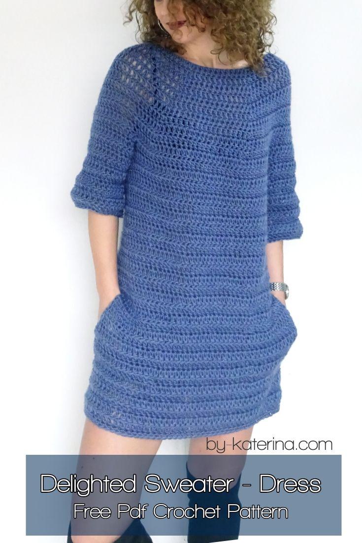 Delighted Sweater Dress Free Pdf Crochet Pattern Crochet Sweater Dress Crochet Dress Pattern Sweater Dress Pattern [ 1102 x 735 Pixel ]