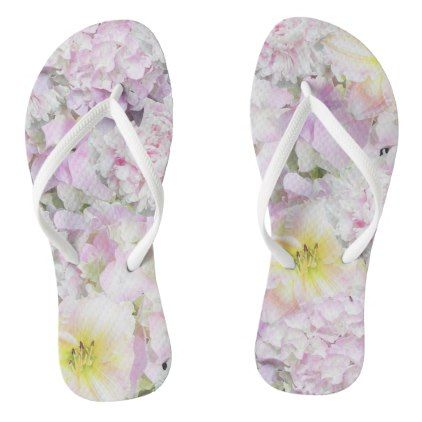 Lovely White Flowers Floral Flip Flops - patterns pattern special unique design gift idea diy