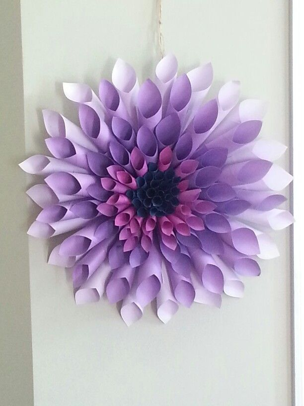 My purple dahlia paper wreath