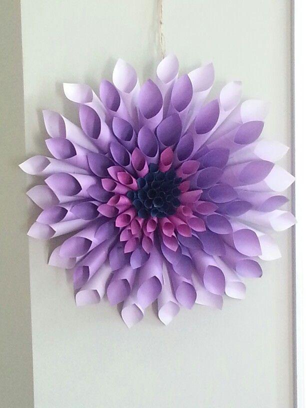 My purple dahlia paper wreath
