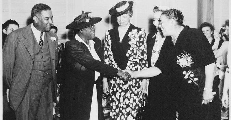 Former First Lady Eleanor Roosevelt interviews her friend Mary McLeod Bethune in a 1949 radio broadcast in support of 'interracial understanding.'