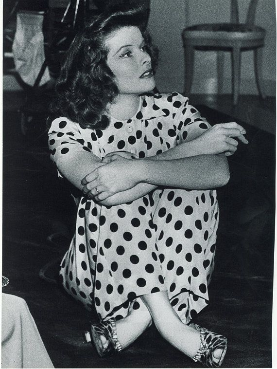 "Katharine Hepburn in spots and leopard dot shoes on the set of ""Woman of the Year,"" 1942"
