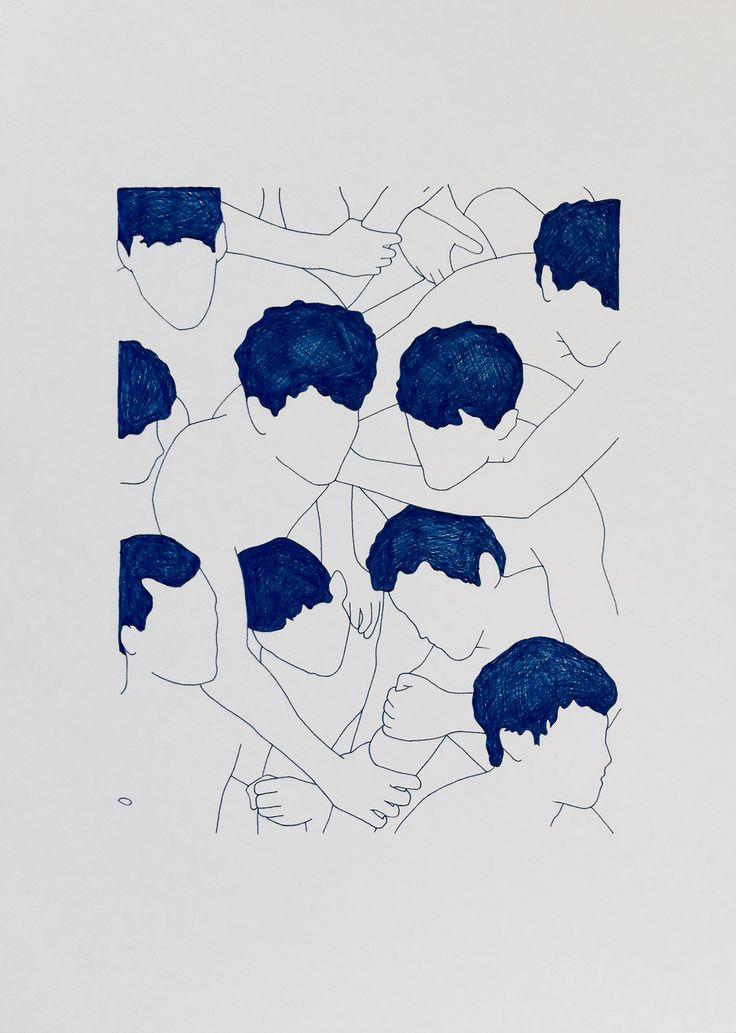 Francisco Hurtz untitled / blue nankeen on paper 2014