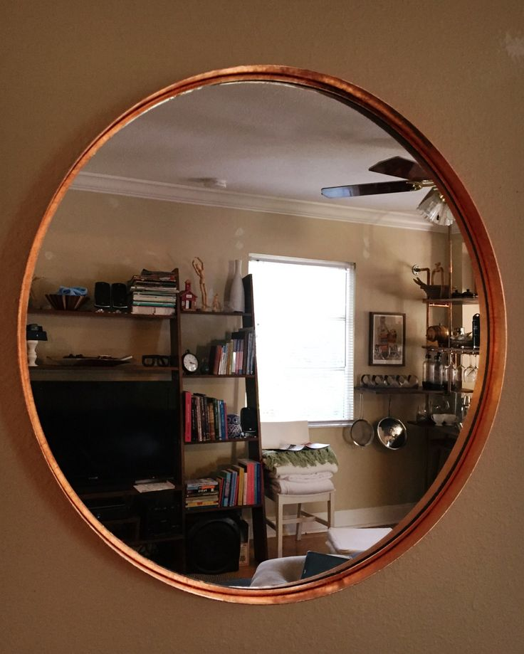 IKEA bathroom mirror refinished with copper leaf - DIY