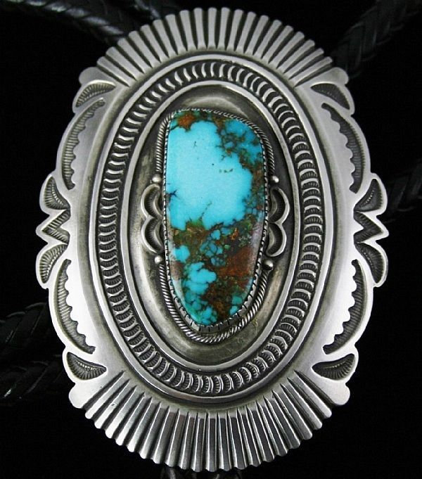 Sammie Kescoli Begay has rolled this bolo face and tips out of heavy sterling silver ingot. The face of the bolo is then cut out to create the design and deeply stamped with his home made tools. A fine gem grade natural Candelaria turquoise cabochon is selected to be set in an intricate hand chiseled bezel. | eBay!
