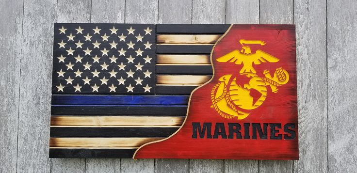 Thin Blue Line Marine Corps Split Series Wooden