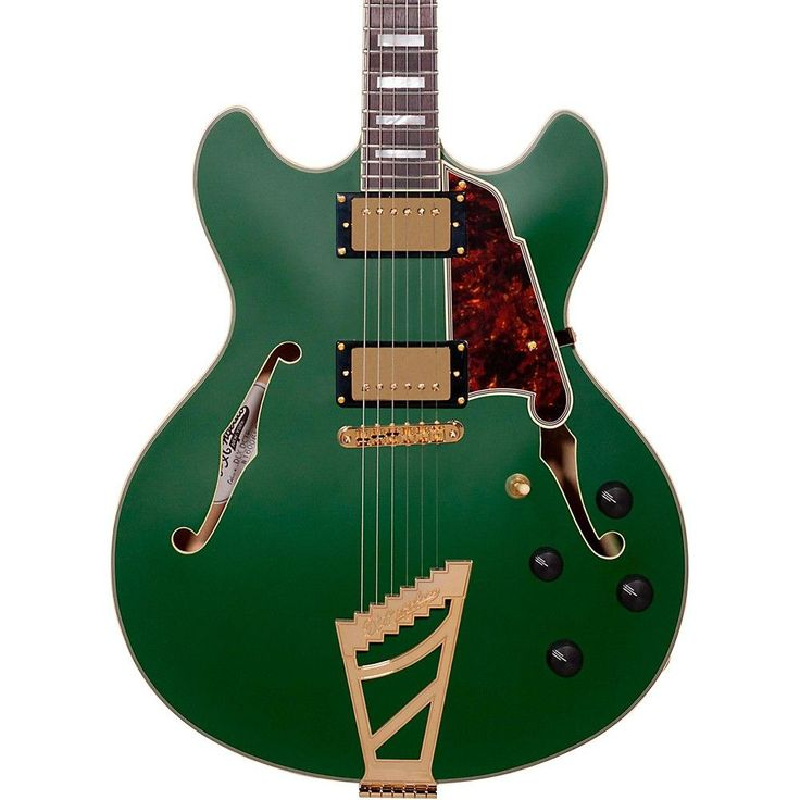 D'Angelico Deluxe Series DH Hollowbody Electric Guitar with Custom Seymour Duncan Pickups and Stairstep Tailpiece Matte Emerald Tortoise Pickguard