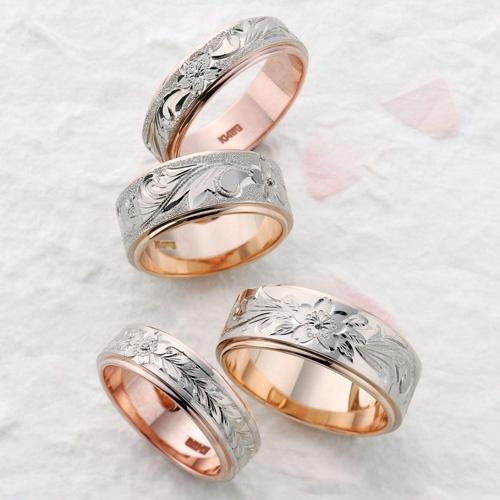 桜4種   輪が最も得意とする手彫りの魅力を最大限に演出した和テイストのリング。   熟練の職人が1つ1つ手作業でお作りしています。 中でもこの桜をモチーフした指輪はまさに芸術品です。   素材は写真のK14のピンクゴールドとホワイトゴールドのツートンカラーの他に輪自慢のパラスやイエローゴールド、シルバーでもお作りできます。
