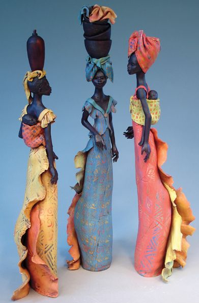 Annie Peaker Inspired by her love for African culture, UK ceramicist Annie Peaker captures the beauty of African women in ceramic sculptures.  Some of her figures are slightly elongated to emphasize the grace and elegance of the African female form