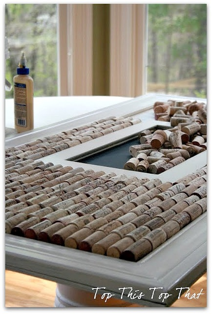 Wine cork frame :)  Awesome idea and awesome blog.