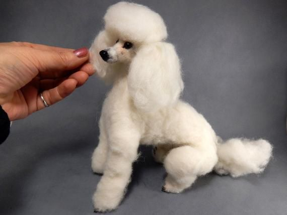 White Poodle Mom Gift Idea Custom Dog Double Needle Felted Dog