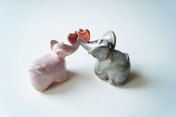 Wedding Cake Topper Elephant Cake Topper Ceramic by HerMoments