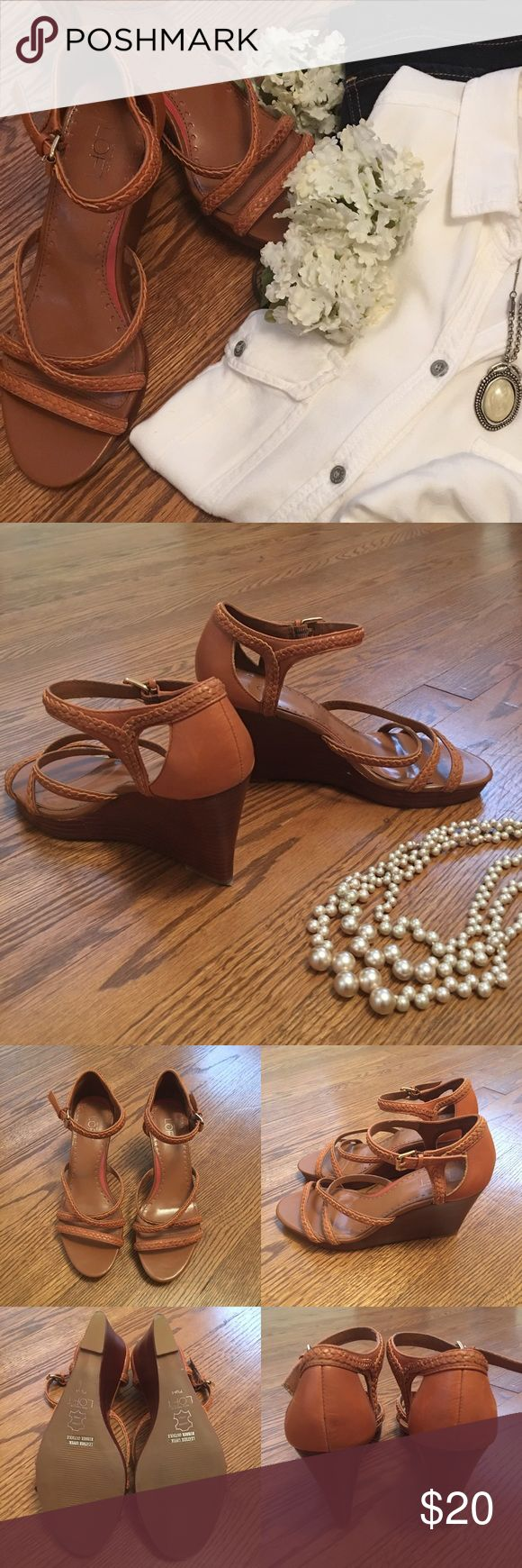 Anne Taylor Loft wedge sandals Next to new....this great pair of wedge sandals will be the perfect addition to your spring wardrobe. Pair them with dresses, jeans....so many options! LOFT Shoes Wedges