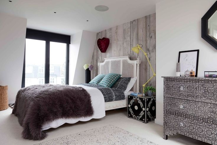 Lovely White Shabby Chic Bedroom with Teal and Grey Cushions Dark Brown Shaggy Throw