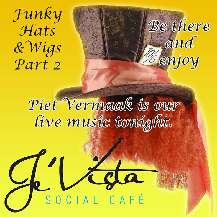 It's Saturday and time for part 2 of the funky hats and wigs party at Je'Vista Social Café Jeffrey's Bay. Tonight we have Piet Vermaak supplying the music and we also have our Buckets of specials as well as a special offer on Castle Draft at only R15.00. Alcohol not served to persons under 18, Drink responsibly. #themeparty #specials #Fun