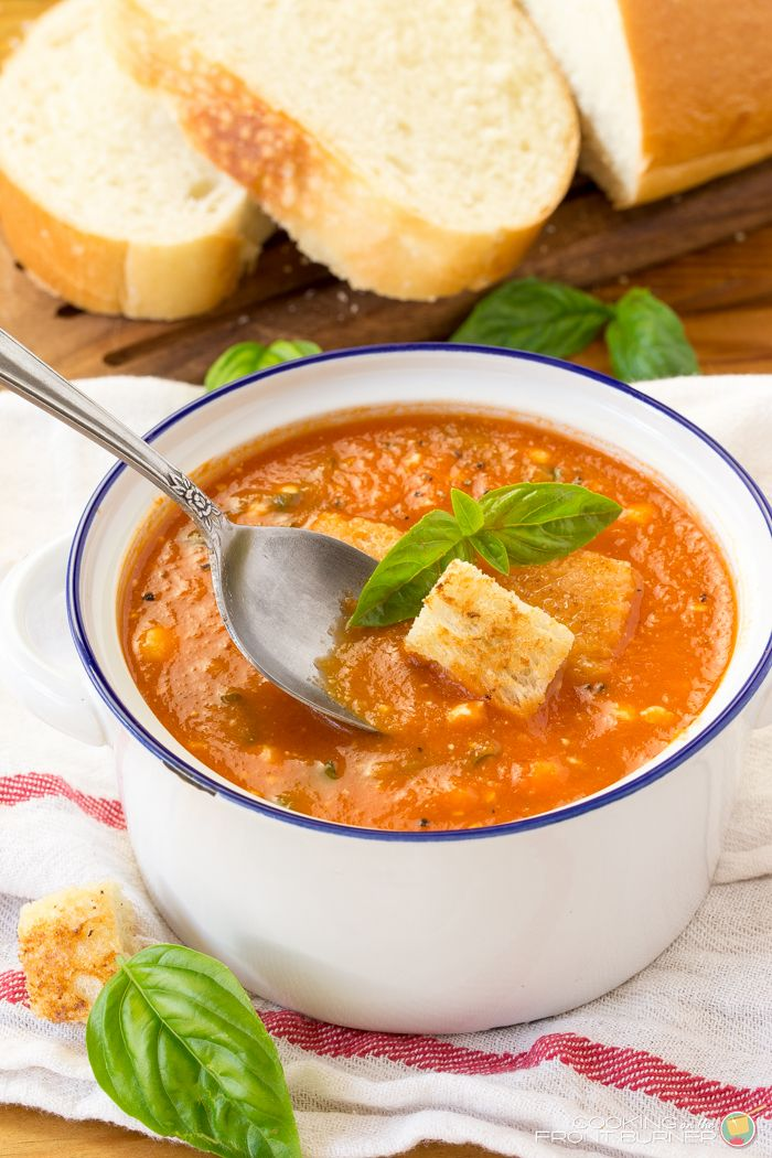 This fresh tomato soup is kicked up a notch with fresh basil and feta cheese…