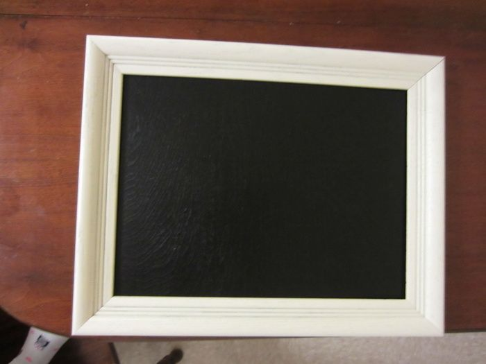 Here is a list of things you will need to create and build your DIY Chalkboard: - Picture frame (We purchased one at goodwill for $2.) - Spray paint for the frame - Chalkboard spray paint for the plywood - Plywood (we had scrap laying around the house from other past projects)