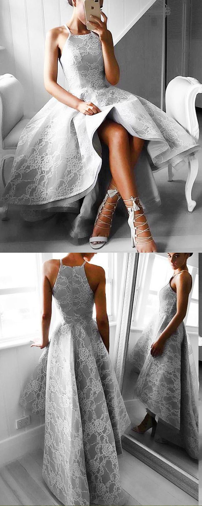 Stunning high low spaghetti straps lace grey formal dress pm in