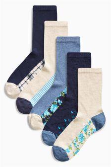 Next Blue Floral Footbed Ankle Socks Five Pack £8