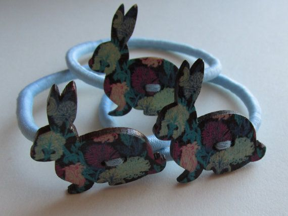 Blue Rabbit pony tail holder  blue rabbit hair by Buttonnuthin