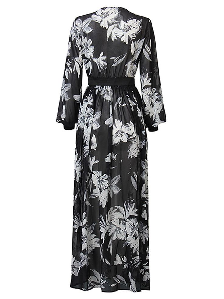 Women Sexy Floral Print Deep V See-through Three Quarter Sleeve Maxi Dress…