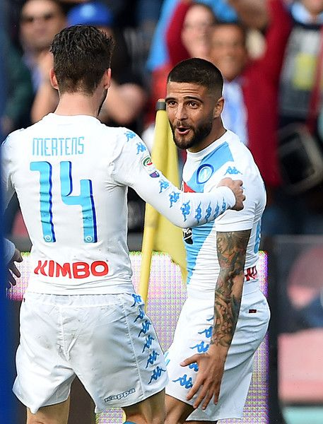 Lorenzo Insigne and Dries Mertens of SSC Napoli celebrate the 3-0 goal scored by Lorenzo Insigne during the Serie A match between SSC Napoli and Cagliari Calcio at Stadio San Paolo on May 6, 2017 in Naples, Italy.