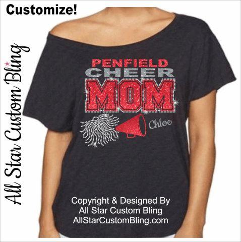 Cheer Mom Bling Shirt, Cheer Mom Dolman Shirt