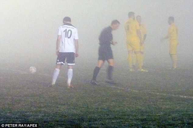 A top-of-the-table clash between St Austell and Bodmin in Cornwall on Wednesday had to be called off after just 58 seconds due to intense fog which blanketed the pitch