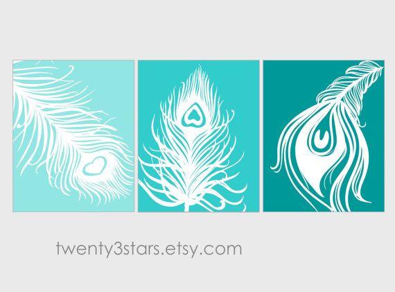 Trio de plumes de paon coloré d'estampes, vous choisissez les couleurs sticker minimaliste sans cadre pour pépinière, salle de bains, salle de séjour sur Etsy, $30.68 CAD