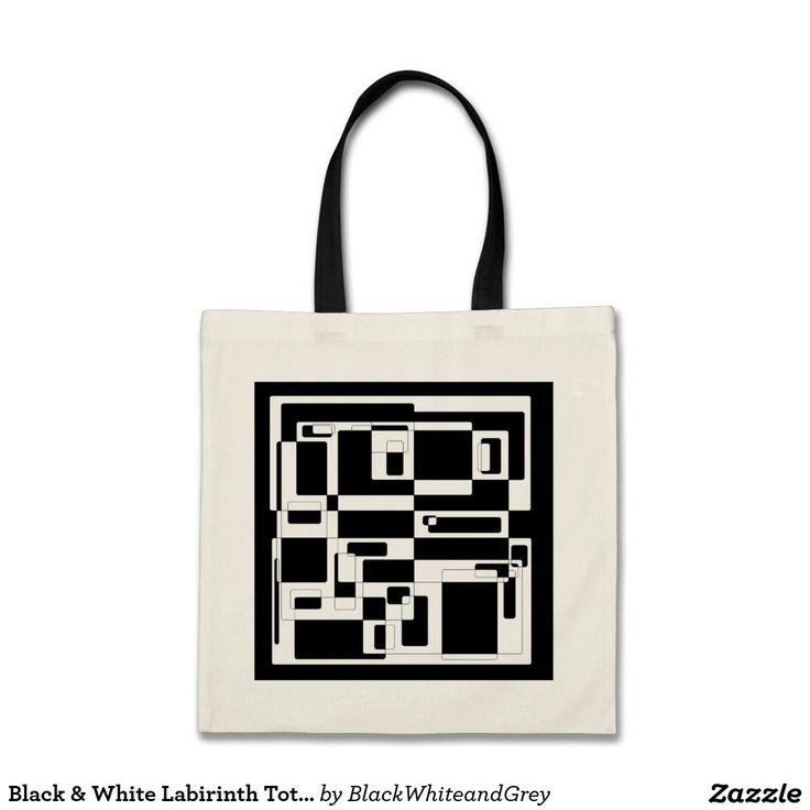 Black & White Labirinth Tote Bag