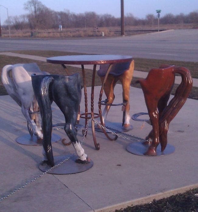 STRANGE CUSTOM BAR STOOLS - HORSES REAR ENDS WITH TAIL - FITS YOU PERFECTLY!