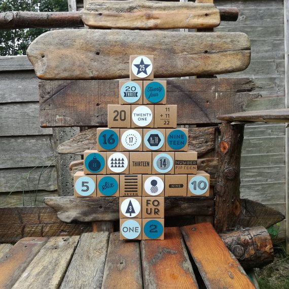 Reusable Advent Calendar hand stamped reuse by DorsetHodgepodge