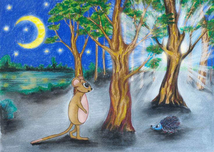 Ilustracja do opowiadania dla dzieci. Markery, pastele