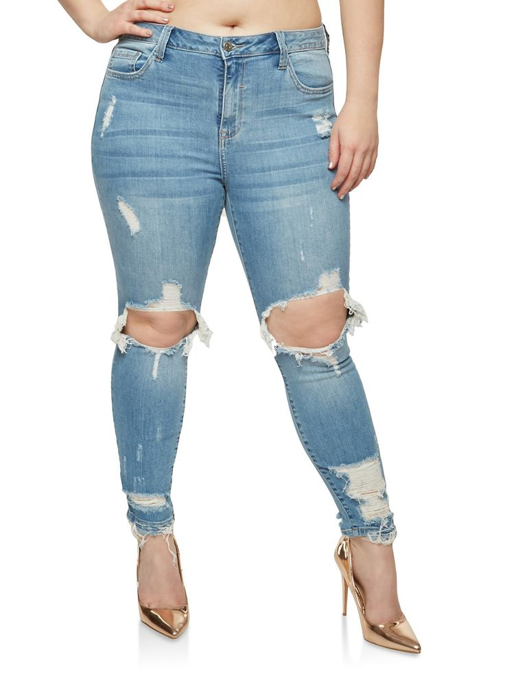 Plus Size Cello Ripped Knee Jeans,LIGHT WASH