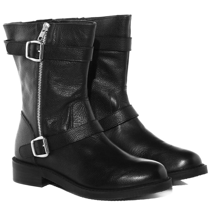Ladies Evans Black Leather Cowboy Style Block Heel Knee