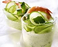 recette de mousse legere concombre crevette coriandre