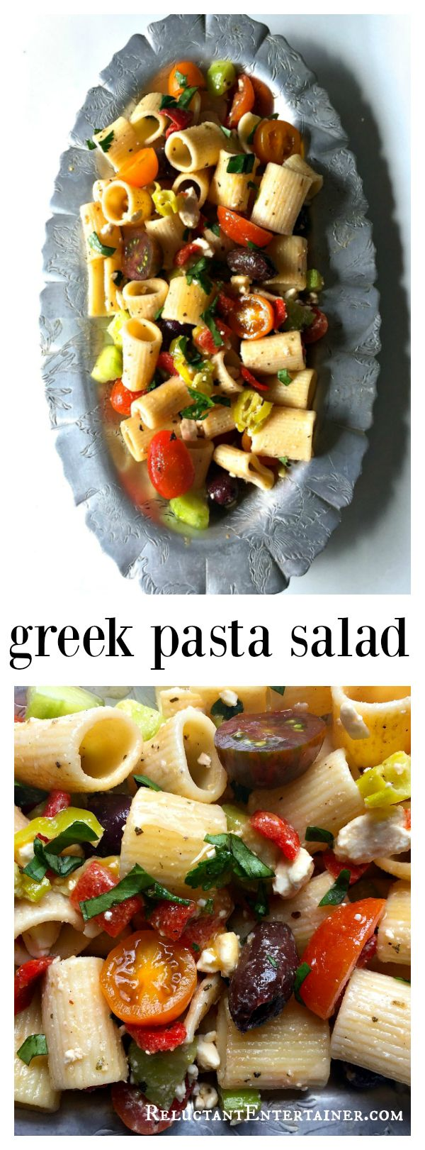 Make this Greek Pasta Salad ahead of time and refrigerate up to 24 hours for delicious flavor. Excellent to bring to a potluck or a summer party!