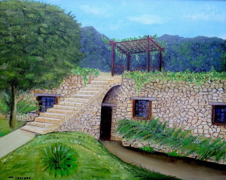 "🔎zoom Details rural Lebanese house, or rural oil painting house a kind of rural landscaping oil painting.  the specification of a house in oil painting  Size :20"" X 16""  Material: oil on canvas"