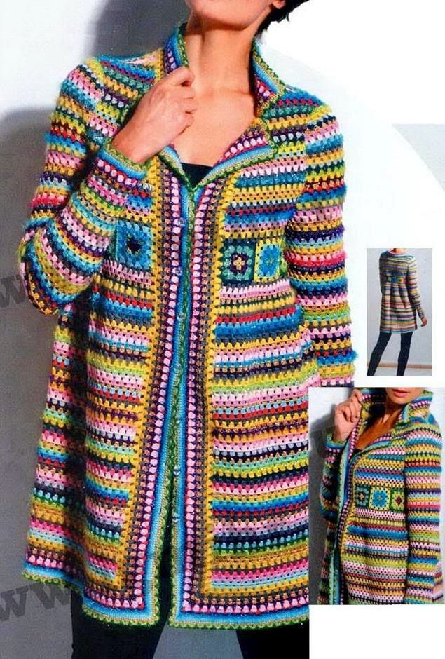 Crochet Sweaters: Crochet Pattern of Cardigan Jacket or Coat - Squar...