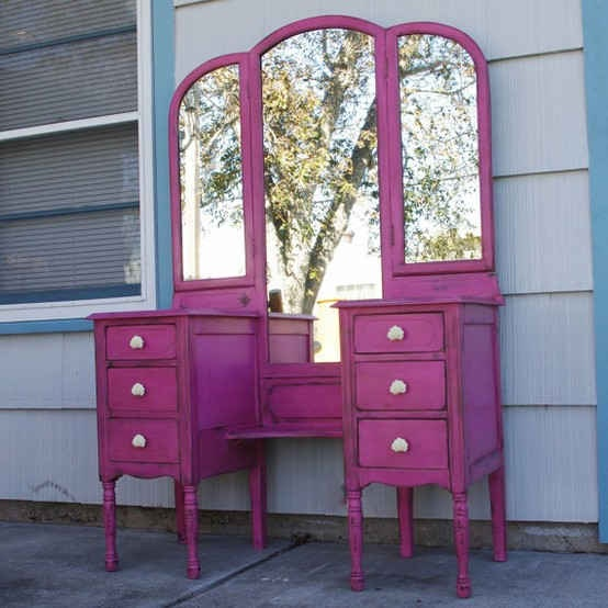 Distressed Furniture In A Funky Bright Color